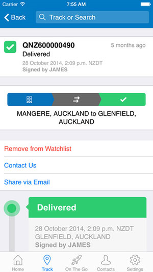 Mainfreight App - Consignment track screen