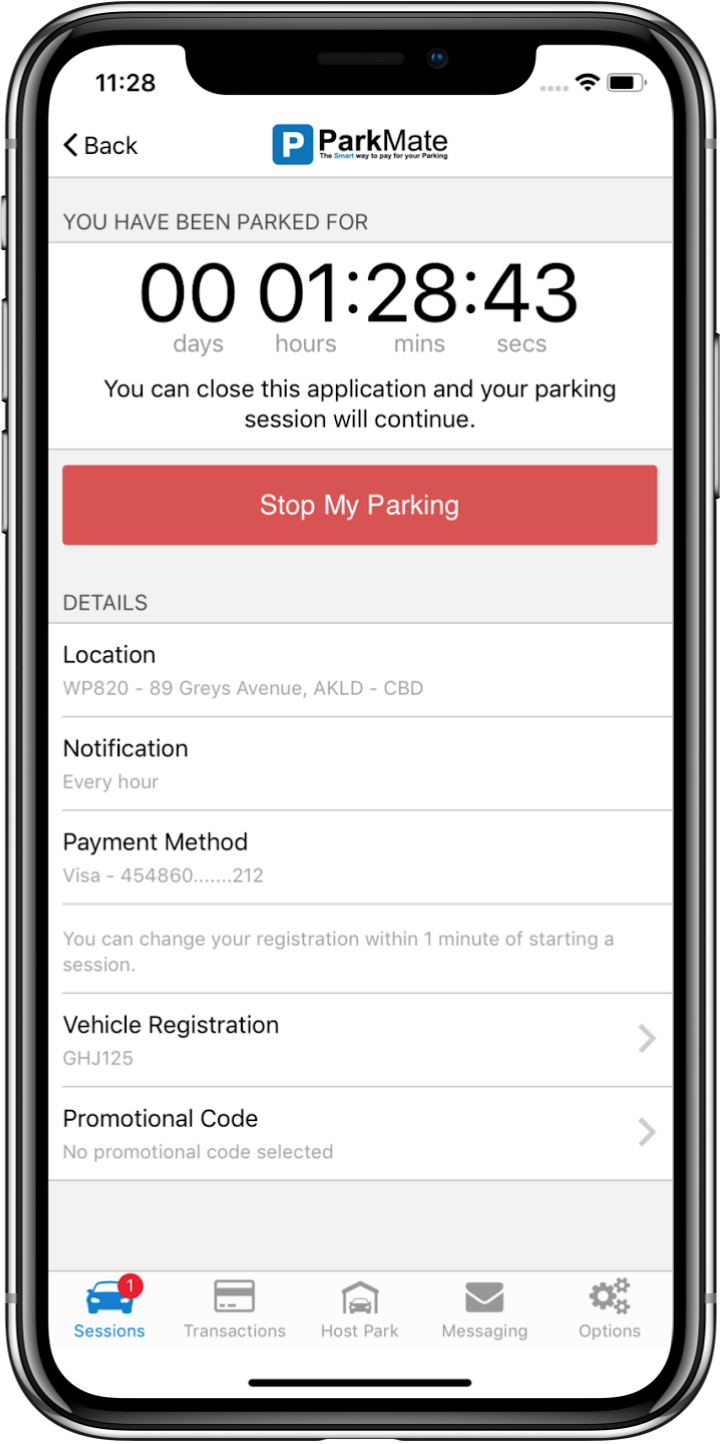 ParkMate App - Selected parking screen